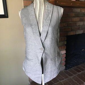 Eileen Fisher Linen Blend Gray Metallic Vest M